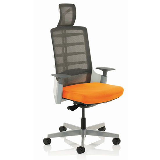 Exo Charcoal Grey Back Office Chair With Tabasco Red Seat