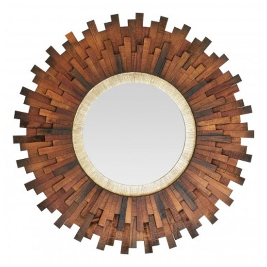 Exotic Sunburst Design Wall Bedroom Mirror In Natural Dark Frame