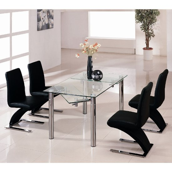 Alicia Extending Dining Table Set In Clear Glass With 6 Z Chairs_2