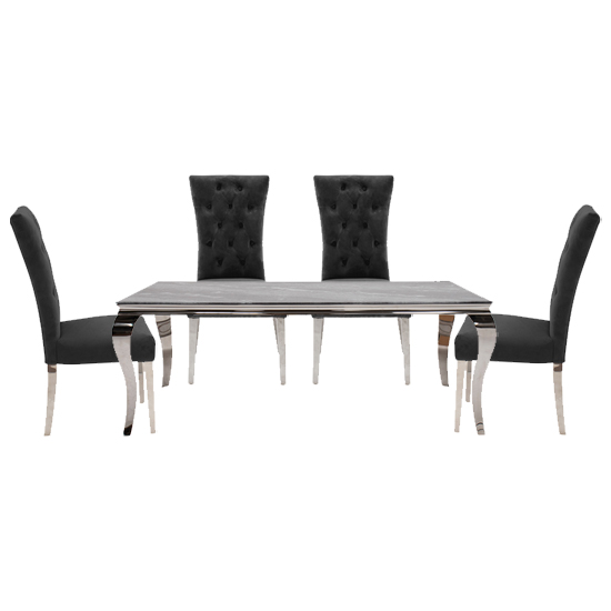 Fabien Grey Glass Dining Table With 4 Pembroke Charcoal Chairs