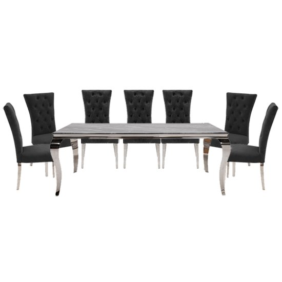Fabien Large Glass Dining Table With 8 Pembroke Charcoal Chairs