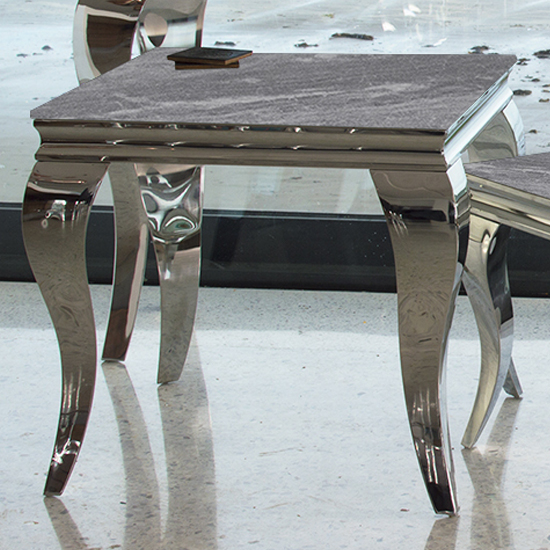 Fabiro Marbled Glass Lamp Table In Grey