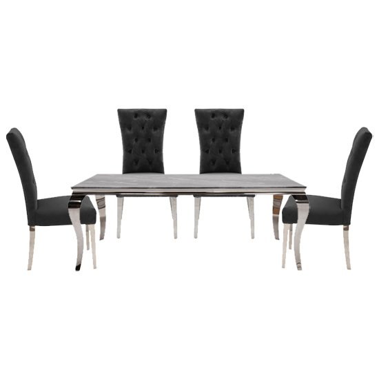 Fabien Medium Glass Dining Table With 4 Pembroke Charcoal Chairs