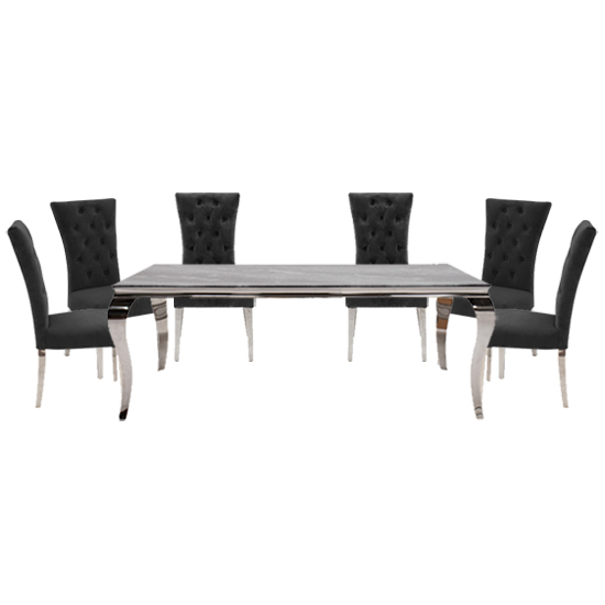 Fabien Medium Glass Dining Table With 6 Pembroke Charcoal Chairs_1