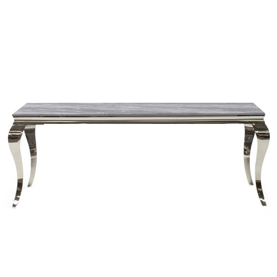 Fabien Medium Marbled Glass Dining Table In Grey