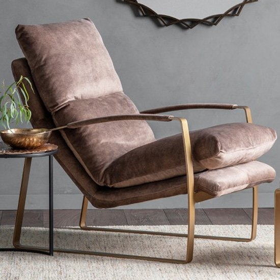Fabien Velvet Lounge Chaise Chair In Mineral