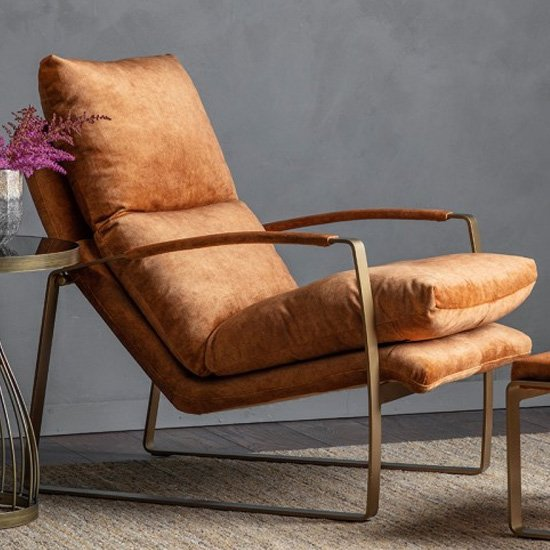 Fabien Velvet Lounge Chaise Chair In Ochre_1