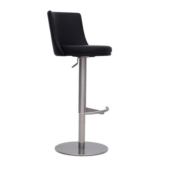 Fabio Bar Stools In Black PU And Brushed Stainless Steel Base