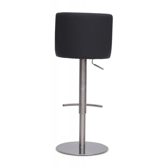 Fabio Bar Stools In Taupe PU And Brushed Stainless Steel Base_3