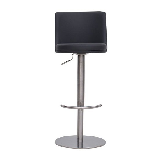 Fabio Bar Stools In Taupe PU And Brushed Stainless Steel Base_4