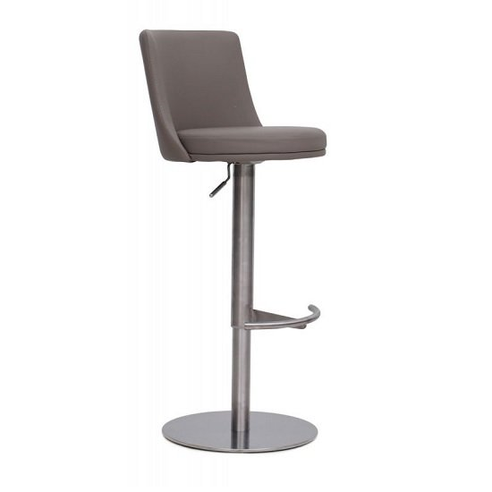 Fabio Bar Stools In Brushed Stainless Steel and Taupe PU Base
