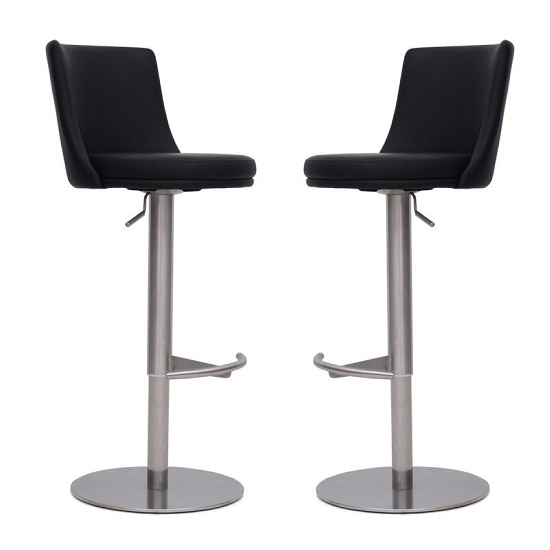 Fabio Bar Stools In Black Faux Leather In A Pair_1