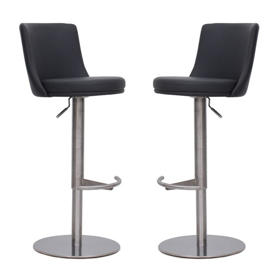 Fabio Bar Stools In Grey Faux Leather In A Pair