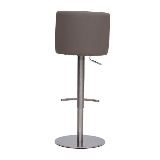 Fabio Bar Stools In Brushed Stainless Steel and Taupe PU Base_3