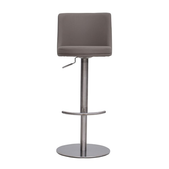 Fabio Bar Stools In Brushed Stainless Steel and Taupe PU Base_4