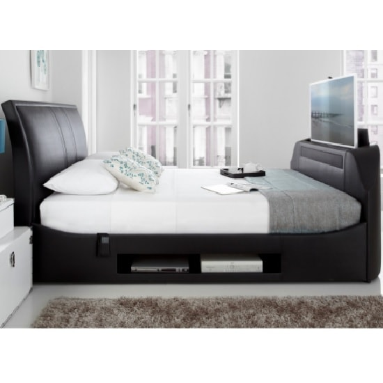 Fable Multi Media TV Super King Bed In Black Bonded Leather