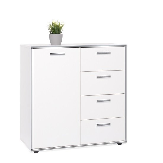 Fable Wooden Compact Sideboard In White With 4 Drawers
