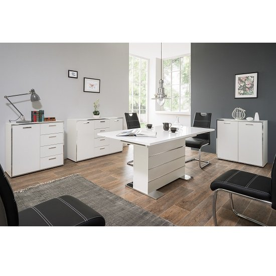 Fable Wooden Sideboard In White With 2 Doors And 4 Drawers_4