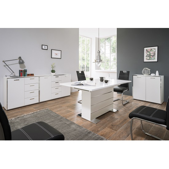 Fable Wooden Sideboard In White With 2 Doors And 4 Drawers_5