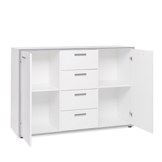 Fable Wooden Sideboard In White With 2 Doors And 4 Drawers_2