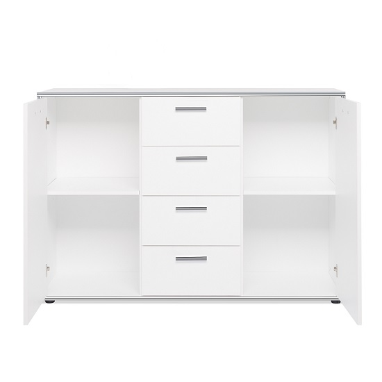 Fable Wooden Sideboard In White With 2 Doors And 4 Drawers_3