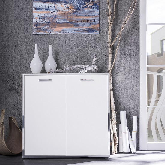 Fable Wooden Storage Cabinet In White With 2 Doors_1