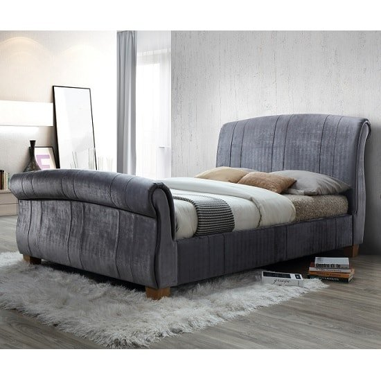 Waverly Sleigh Double Bed In Grey Velvet With Wooden Legs