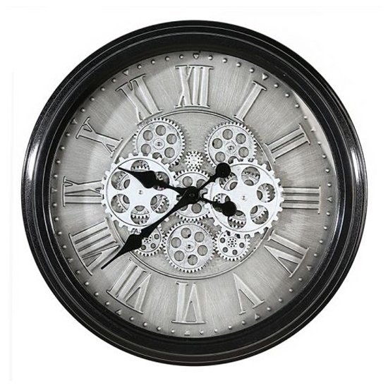 Factona Glass Wall Clock With Anthracite And Silver Metal Frame