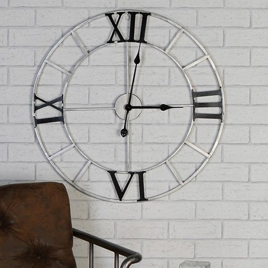 Factory Metal Wall Clock In Silver And Anthracite_1