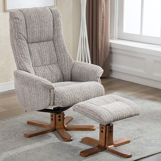 View Fairlop fabric swivel recliner chair and footstool in wheat