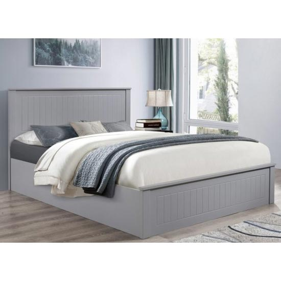 Fairmont Ottoman Wooden Double Bed In Grey