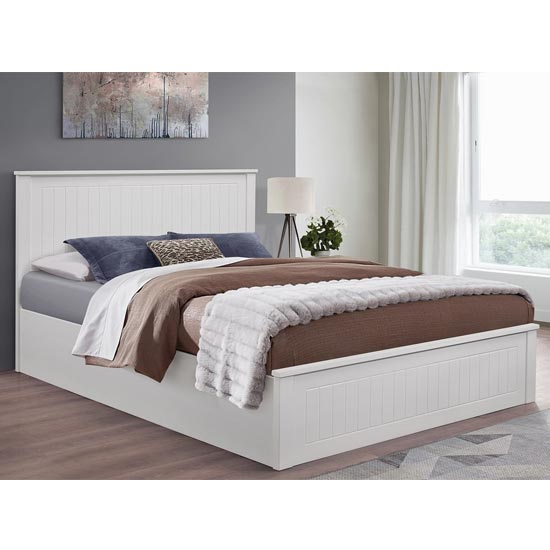 Fairmont Ottoman Wooden King Size Bed In White