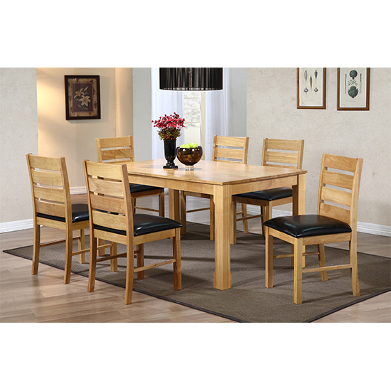 Fairmont Wooden Dining Set In Natural With 6 Chairs
