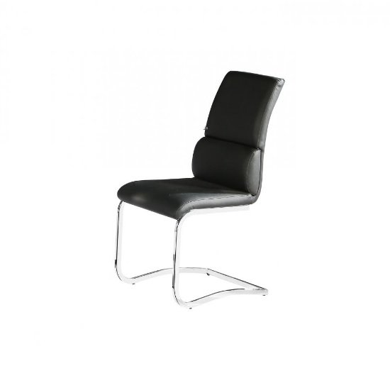 Fairmont Dining Chair In Black Faux Leather With Chrome Base