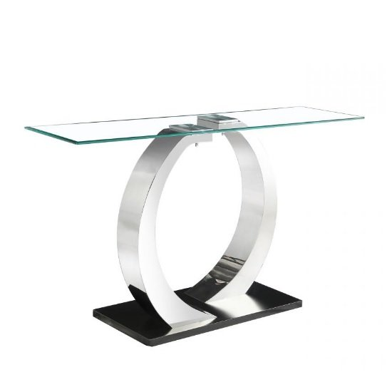 Fairmont Glass Console Table In Clear With Black Steel Base