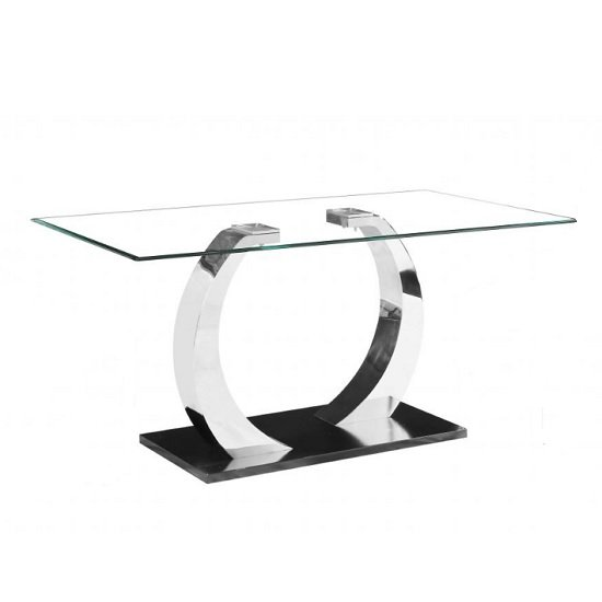 Fairmont Glass Dining Table In Clear With Black Steel Base