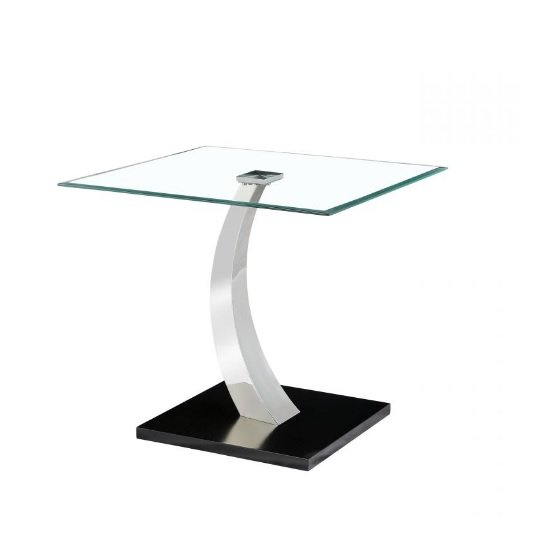 Fairmont Glass Lamp Table In Clear With Black Steel Base