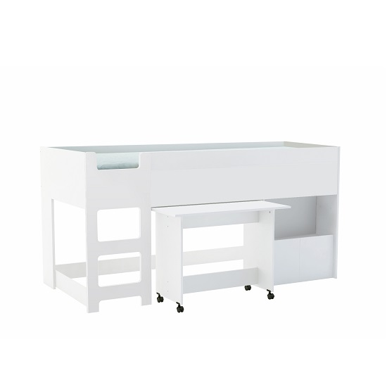 Fairy Childrens Bed In Matt White With Desk