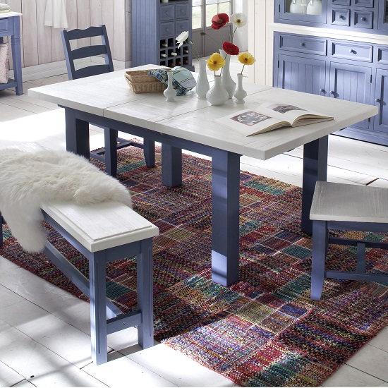 Falcon Extending Large Dining Table In Blue And White Pine