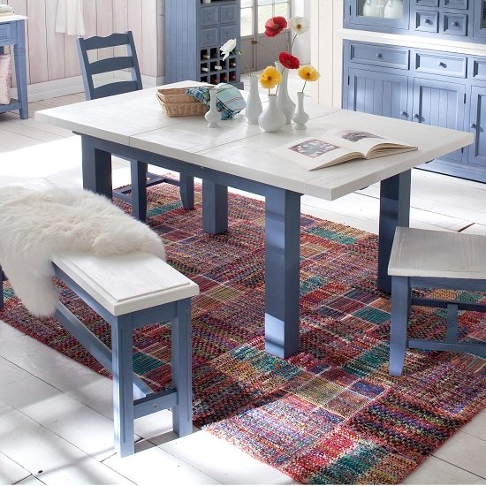 View Falcon extending large dining table in blue and white pine