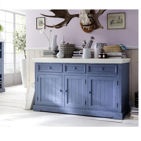 Falcon Sideboard In Pine Wood Blue And White Furniture