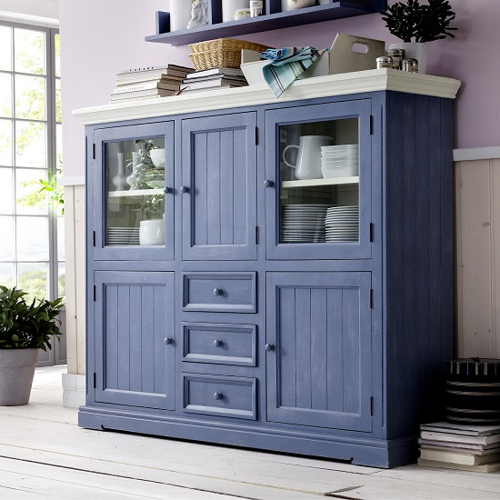 Falcon Highboard In Pine Wood Blue And White