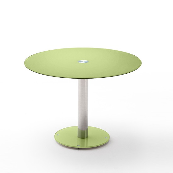 Falko Modern Glass Dining Table Round In Apple Green