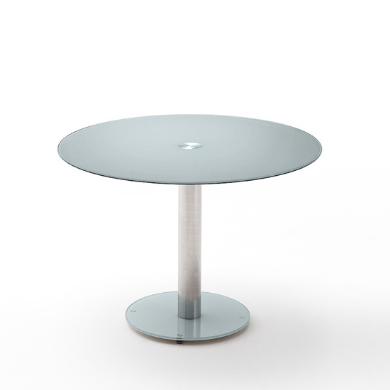 Falko Modern Glass Dining Table Round In Petrol
