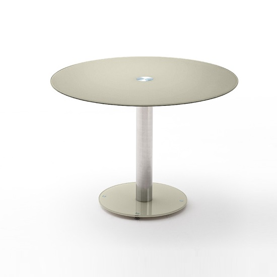 Falko Modern Glass Dining Table Round In Taupe