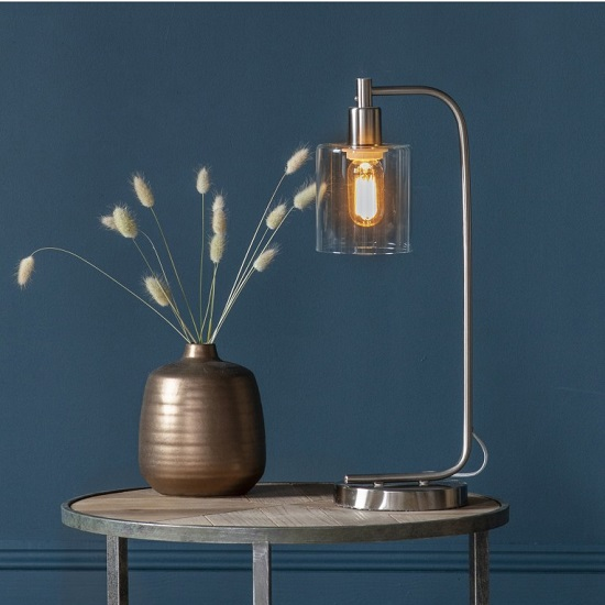 Falun Glass Table Lamp In Brushed Nickel Metal Frame