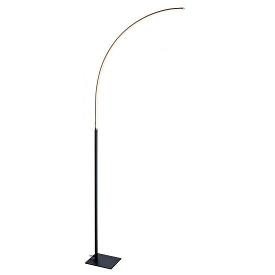 Product photograph showing Fame Led Curved Floor Lamp In Matt Black