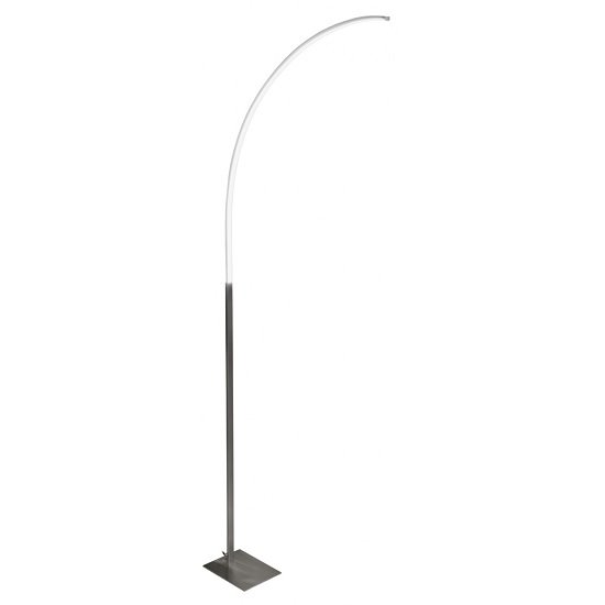 Fame LED Curved Floor Lamp In Satin Steel