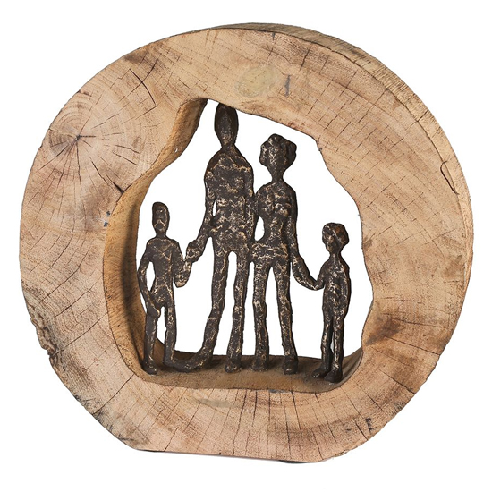 Family Aluminium Sculpture In Graphite With Natural Wooden Frame