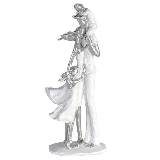 Family Happiness Poly Design Sculpture In White And Silver